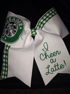 "Starbucks Cheerleader Cheer Bow 3"" Stitched on Etsy, $15.00"