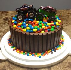 Kit kat monster truck cake for Jay's 4th?? It'd be easy and cute.
