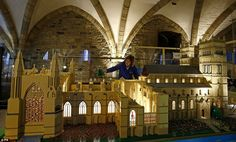 Shelagh Bainbridge adds Lego to a model of Durham Cathedral which has an incredible attent. St Johns College, Durham Cathedral, Sunderland, Lego Brick, Miniatures, England, The Incredibles, Detail, City