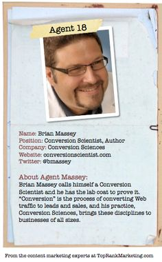 Bio for Secret Agent #18 @bmassey  to see his content marketing secret visit tprk.us/cmsecrets
