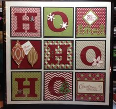 Ho, Ho, Ho Sampler - MS Gifts border punch, Festival of Prints DSP (by wagnerjulie on SCS Christmas Shadow Boxes, Christmas Frames, Noel Christmas, Christmas Projects, Handmade Christmas, Holiday Crafts, Christmas Ideas, Christmas Pictures, Christmas Decorations