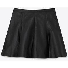 Saint Laurent Skater Skirt ($2,325) ❤ liked on Polyvore featuring skirts, pleated circle skirt, knee length pleated skirt, leather a line skirt, pleated a line skirt and flared leather skirt