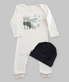 Look what I found on #zulily! Ivory & Black 'Welcome Baby Playsuit & Beanie #zulilyfinds