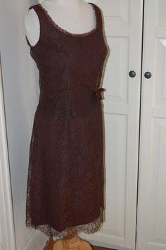 375e51ca469 1960s Jonathan Logan Cocoa Lace Cocktail Dress
