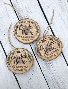 New Home Christmas Ornament Wood Slice Personalized New House, Hand Lettered Rustic Tree Ornament, T - Wedding Colors Christmas Animals, Diy Christmas Ornaments, Christmas Deco, Rustic Christmas, Christmas Trees, Our First Christmas Ornament, Woodland Christmas, Beach Christmas, Family Christmas