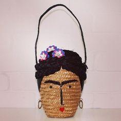 lulu guinness-new handbag-artist frida kahlo-self protrait-wicker straw basket-quirky designer handbags-handbag.com