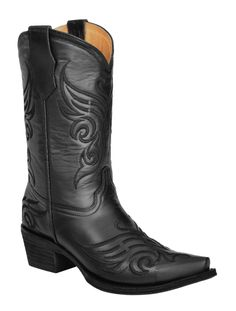 Circle G Black Butterfly Embroidered Cowgirl Boots - Snip Toe available at #Sheplers