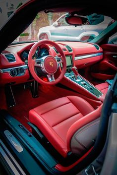 Interior of a Porsche sports car is like an athlete's clothing, It fits perfectly and feel like a second skin. Check out our collection of Porsche interior. Red Interior Car, Car Interior Design, Luxury Interior, Cafe Interior, Interior Ideas, Contemporary Interior, Porsche Sports Car, Porsche Cars, Muscle Cars