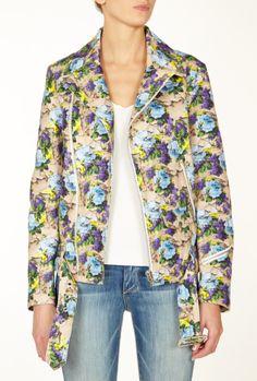 Floral Canvas Biker Jacket by MSGM