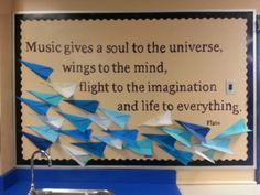 New bulletin board idea for my elementary music classroom. Love the way it turned out!