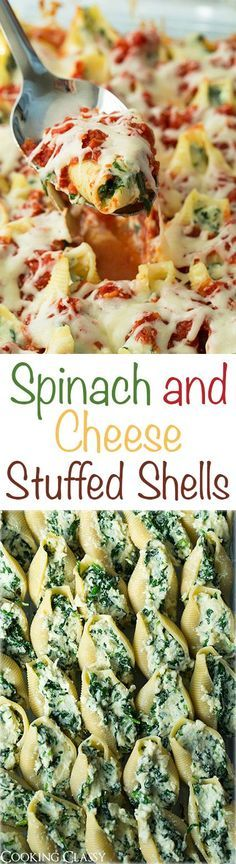 Spinach and Cheese Stuffed Shells - these are so good you'll want to add them to your dinner rotation! Perfect weeknight pasta dinner!