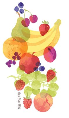FRUIT BOWL Ohn Mar Win pear apple banana strawberry blueberry orange grapes plum raspberry cherry