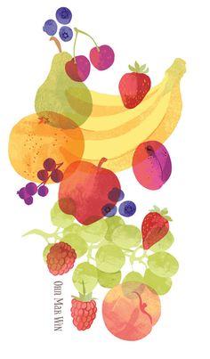 FRUIT BOWL Ohn Mar Win pear apple banana strawberry blueberry orange grapes plum raspberry cherry