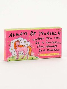 Everytime you chew a piece of gum, a unicorn gets its horn. 8 pieces of candy-coated, fruit-flavored gum in each box. FREE U.S. SHIPPING OVER $35, NO CODE NEEDE