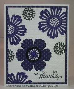 handmade card ... Mixed Bunch .... purple ... stamped and one punched from dotted paper with the Blossom Punch ... good placement of the elements ... Stampin' Up!