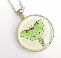 TuckooandMooCow — Luna Moth, Original Hand Painted Necklace