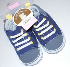 NWT BABY BOY SHOES UPTO 3 MONTHS CARTER'S GRAY BLUE SOFT SOLE CRIB SHOES  #ChildofMineBYCARTERS #CribShoes