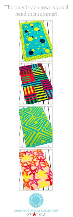 Refresh your beach style with bright and fun towel patterns! The Martha Stewart Collection exclusively at Macy's has the only ones you'll need this summer!