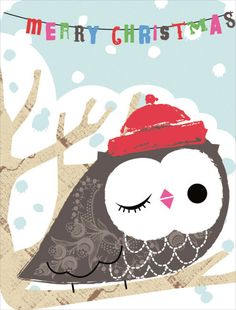 Winking Owl Greeting Card (Set of Christmas Owls, Merry Little Christmas, Winter Christmas, Vintage Christmas, Christmas Crafts, Xmas, Owl Illustration, Christmas Illustration, Christmas Graphics