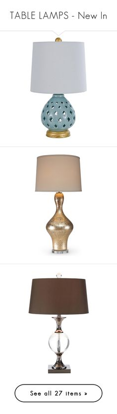 """TABLE LAMPS - New In"" by kathykuohome ❤ liked on Polyvore featuring tablelamps, home, lighting, table lamps, teal lamp, gold lamp, teal table lamp, diamond lighting, gold light and contemporary modern lighting"