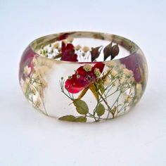 Red Roses and White Baby's Breath in a Chunky Resin Bangle.  Pressed Roses Bangle Bracelet.  Real Flowers - Pressed Rosebuds.. $44.00, via Etsy.