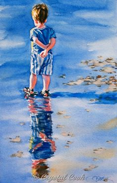 Crystal Cook - Watercolor painting original fine art little boy by… Watercolor Portraits, Watercolour Painting, Painting & Drawing, Watercolors, Watercolor Trees, Watercolor Landscape, Painting People, Arte Pop, Am Meer