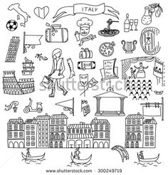 Set of Italy icons doodle. Hand drawn vector illustration. - stock vector