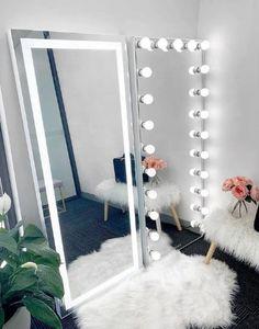 Full Length Vanity Mirror With Lights, Full Length Mirror In Bedroom, Makeup Vanity Mirror With Lights, Vanity Mirrors, Desk With Mirror, Floor Mirrors, Room Ideas Bedroom, Home Decor Bedroom, Lighted Wall Mirror