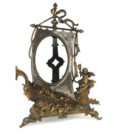 Antique Picture Frame Gilt Bronze Cast Iron Baroque Sail Ship Cupid Easel Back  #Victorian #Unknown