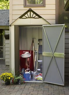 DSM42 on a Patio http://www.arrowsheds.com/specialtyproducts/designer/designer-metro-steel-shed.html