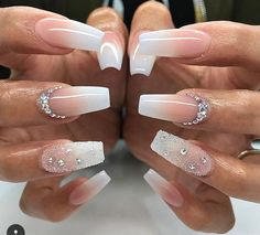 Peachy nude diamonds long coffin nails nail nailart nails awesome 25 fancy white coffin nails bright and fasionable designs prinsesfo Gallery