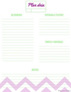 Planer dzienny, planner, to do, do wydruku, free, printable, freebe Moon Projects, Color Of Life, Bujo, Personal Development, Everything, Bullet Journal, Notes, Organization, How To Plan