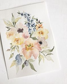 "192 mentions J'aime, 6 commentaires - Annie Bunker Mertlich (@wildfieldpaperco) sur Instagram : ""Newest loose floral featuring delphinium, a peony, honey colored garden roses, anemones, young…"""