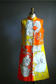 Vintage 60s Vera Mod Floral Orange A-Line Dress