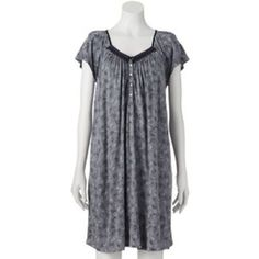 $19.99 New-Plus-Size-Croft-Barrow-Mid-Length-Wide-Short-Sleeve-Rayon-Nightgown-Gray-PJs