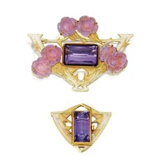 Gold, Amethyst, Enamel and Glass Brooch and Clasp, René Lalique, Circa 1900