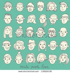 Cartoon vector set � 36 different funny faces. Girls, boys, men, women in white colors by smilewithjul, via Shutterstock