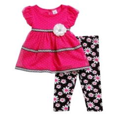 Youngland Flower Dress & Leggings Set - Baby Girl