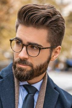 19 The Hottest Hipster Haircut Ideas To Reveal Your Inner Mod big oof Haarschnitt Slicked Back Hair And Beard ❤️Rocking a hipster haircut = looking awesome Check out the compilation of the late Medium Beard Styles, Beard Styles For Men, Hair And Beard Styles, Curly Hair Styles, Short Beard Styles, Hair Style For Men, New Beard Style, Style Hair, Mens Hairstyles With Beard