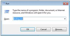 Type dxdiag.exe in the Run text entry box