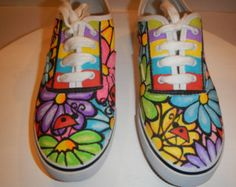 Lady Bugs and Flowers 2 Handcrafted custom Doodle Graffiti Sneakers Shoes