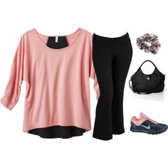 Women's Plus-size Outfit - Perfect outfit for the gym or afternoon walks around the block. Love the color contrasting top - #plussizefashion