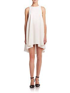 T by Alexander Wang Matte Crepe Leather-Trim A-Line Dress