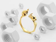 Rabbit Ring (Brass, Bronze 3D Printed Rabbit Ring)