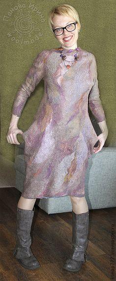 Купить платье Shadow - бежевый, сиреневый, платье, платье валяное, валяное платье, валяная одежда