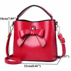 Women Stylish PU Leather Bowknot Bucket Bag Shoulder Bags Crossbody Bags