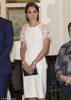 Catherine, Duchess of Cambridge, in a Lela Rose cocktail dress, at a reception hosted by the Governor-General on the final evening of The Duke and Duchess' tour of Australia and New Zealand #katemiddleton
