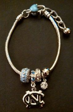 University of North Carolina Tarheels Silver by BeadsandMoretoo, $8.00