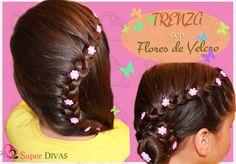Peinado para fiesta - Trenza y flores de lado. Peinado infantil , para f...