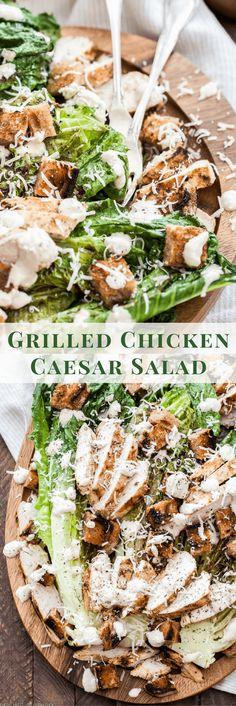 Grilled Chicken Caesar Salad Grilled Chicken Ceasar Salad, Grilled Chicken Recipes, Marinated Chicken, Salad Chicken, Grilled Caesar Salad Recipe, Chicken Caesar Recipe, Healthy Caesar Salad, Ceasar Salat, Classic Caesar Salad
